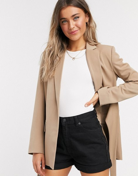 French Connection tie waist tailored jacket in camel-brown in brown