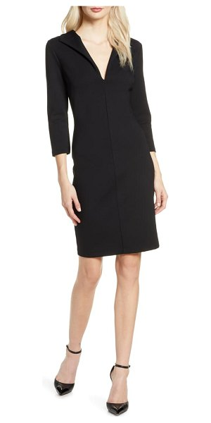 French Connection v-neck body-con dress in black
