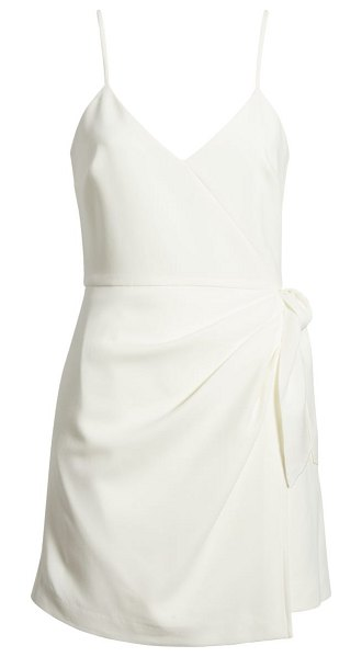 French Connection whisper faux wrap minidress in summer white