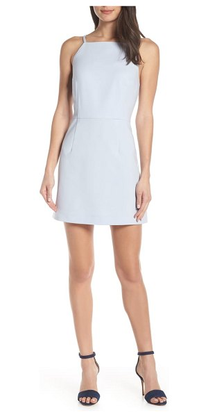 French Connection whisper light sheath minidress in saltwater - Extremely flattering with a square neck and a slim...