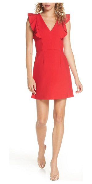 French Connection whisper ruffle minidress in true red