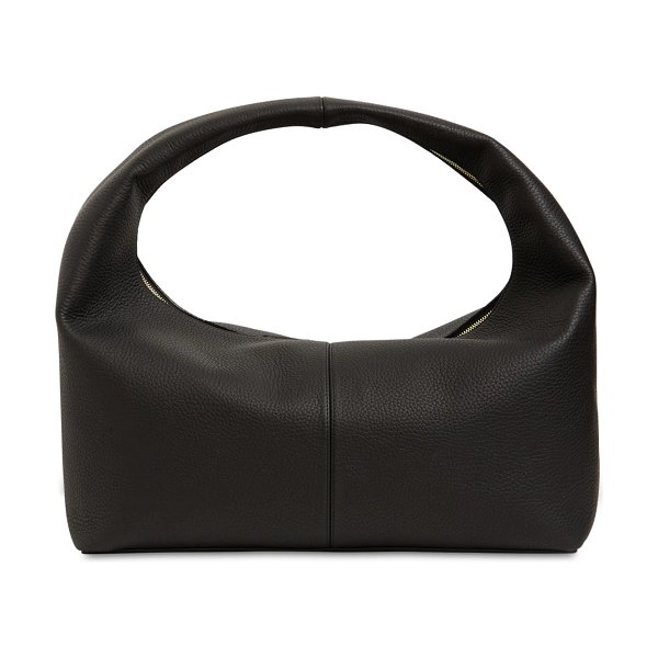 Frenzlauer Large grained leather panier bag in black