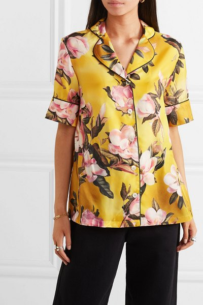 F.R.S For Restless Sleepers bendis floral-print satin-twill shirt in yellow - The best remedy to cold weather is planning your...