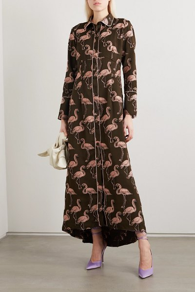 F.R.S For Restless Sleepers briareo printed flocked satin-jacquard maxi shirt dress in army green