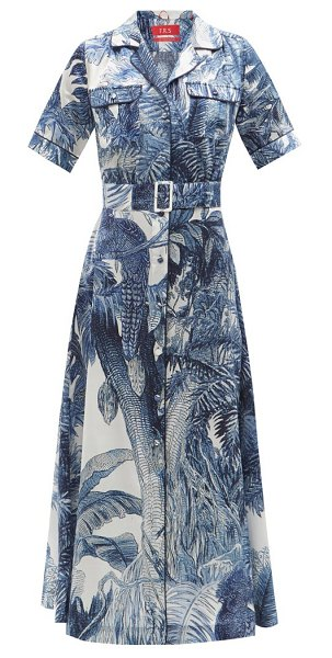 F.R.S - FOR RESTLESS SLEEPERS castalia foliage-print cotton-blend shirtdress in blue print
