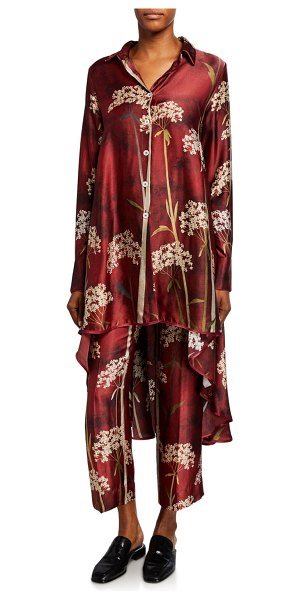 F.R.S For Restless Sleepers Landscape-Print High-Low Convertible Blouse in red