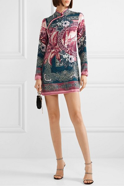 F.R.S For Restless Sleepers satin-trimmed printed silk crepe de chine mini dress in antique rose