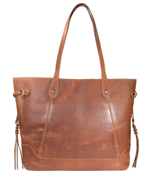 Frye melissa large carryall leather tote in cognac