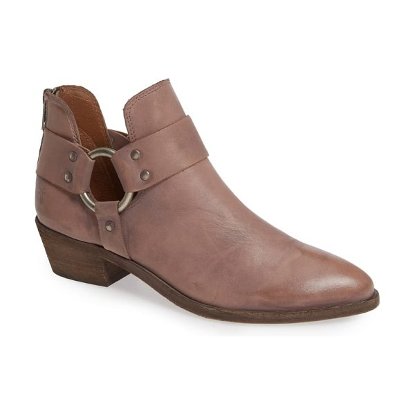 Frye ray low harness bootie in pink - A deeply notched shaft frames the O-ring harness of a...