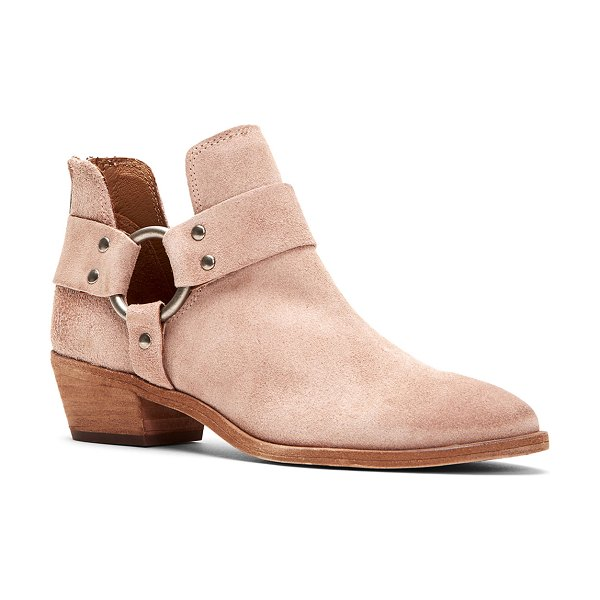 Frye Ray Suede Zip Harness Booties in blush