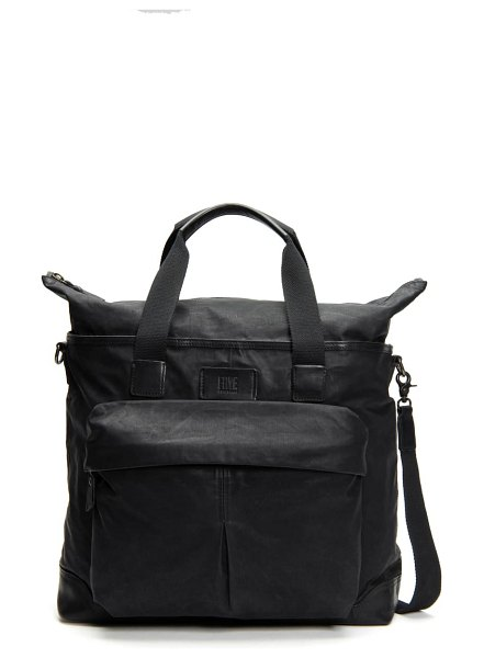 Frye scout canvas & leather overnight bag in black
