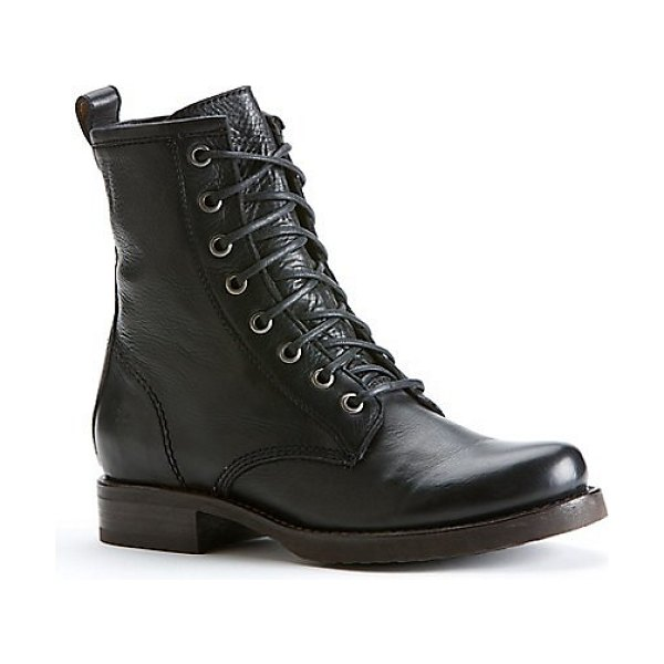 Frye veronica leather combat boots in black