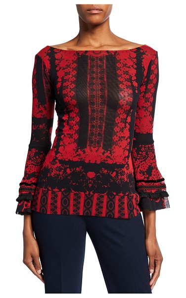 Fuzzi Andalusia Printed Boat-Neck Bell-Sleeve Top in red