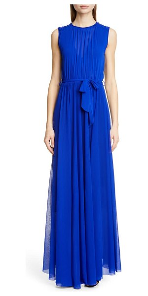 Fuzzi belted gathered maxi dress in indaco