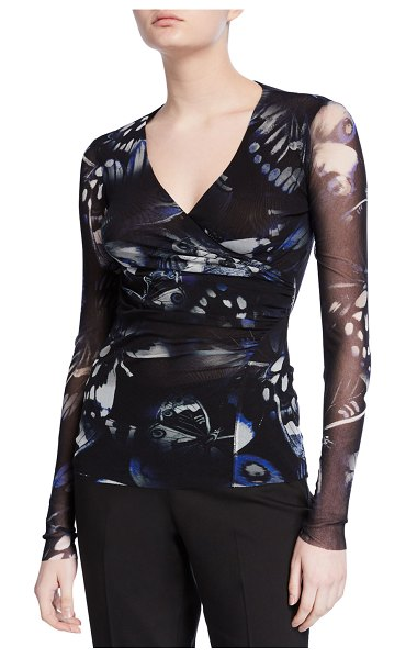 Fuzzi Butterfly Ruched V-Neck Long-Sleeve Top in black