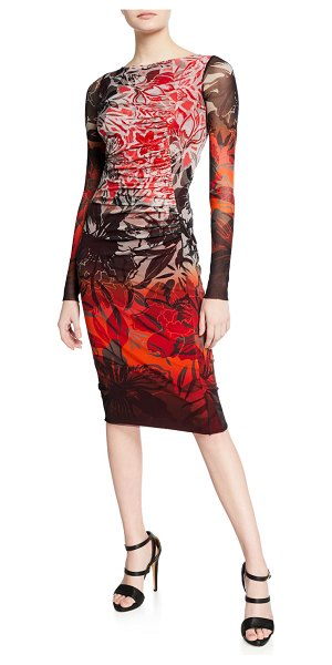 Fuzzi Floral-Print Degrade Long-Sleeve Fitted Dress in ruby