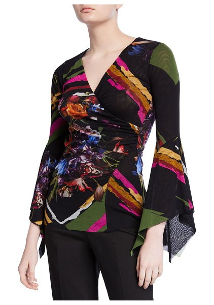 Fuzzi Patchwork Flower V-Neck Top w/ Dramatic Sleeves in multi