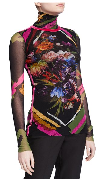 Fuzzi Patchwork Long-Sleeve Turtleneck Top w/ Pink Velvet Stripe in multi