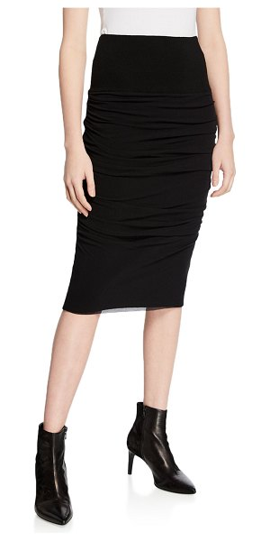 Fuzzi Ruched Knee-Length Pencil Skirt in black