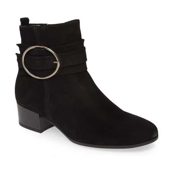 Gabor buckle strap bootie in black nubuck leather
