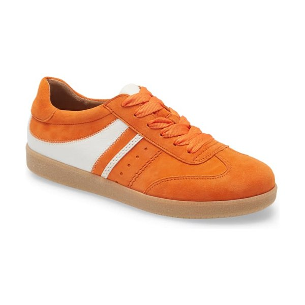 Gabor lace-up sneaker in orange/ white suede