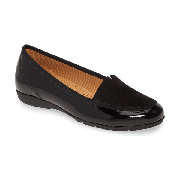Gabor mixed media loafer in black patent leather