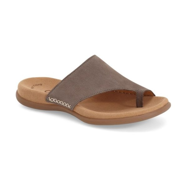 Gabor toe loop sandal in fumo nubuck leather