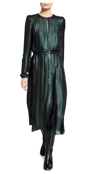GABRIELA HEARST Adelaide Iridescent Midi Dress in emerald