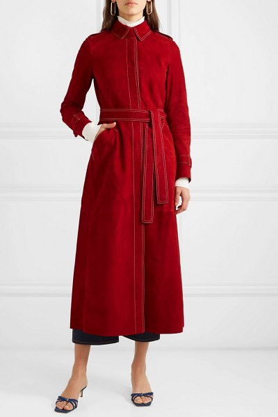 GABRIELA HEARST belted suede coat in red