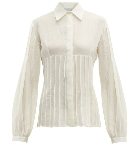 GABRIELA HEARST gertrude pintucked wool-blend blouse in ivory