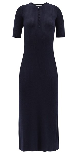 GABRIELA HEARST johanna ribbed cashmere-blend knitted dress in navy
