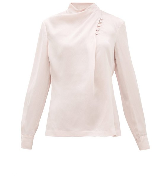 GABRIELA HEARST marcelina draped-neck hammered-silk blouse in pink