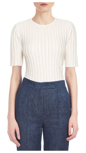 GABRIELA HEARST Milandes Cashmere-Silk Ribbed Tee in ivory
