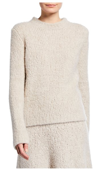 GABRIELA HEARST Philippe Crewneck Cashmere Boucle Sweater in light beige