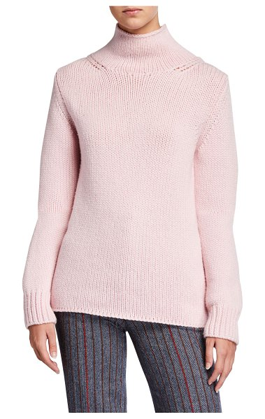 GABRIELA HEARST Velimir Cashmere Turtleneck Sweater in blush