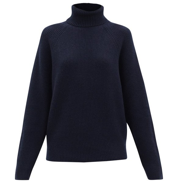 GABRIELA HEARST wigman roll-neck ribbed cashmere sweater in navy