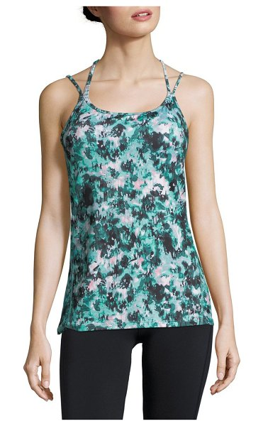 ea57644c7423e Gaiam Lana Bra Tank Top in atlantic - Printed luxe performance tank top  with strappy back