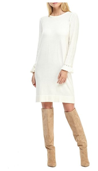 Gal Meets Glam Collection agnes ruffle cuff long sleeve sweater dress in cream