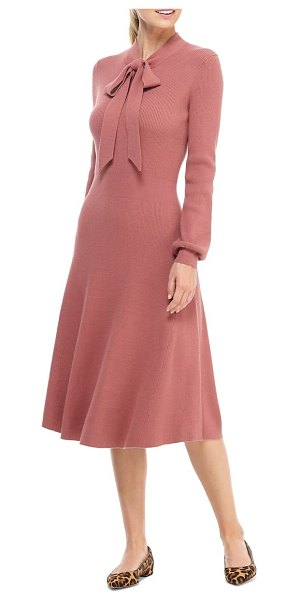 Gal Meets Glam Collection brianna tie neck long sleeve sweater dress in rich pink