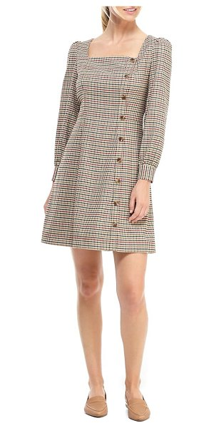 Gal Meets Glam Collection brooke houndstooth check long sleeve dress in red/ green multi