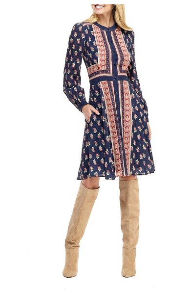 Gal Meets Glam Collection carlene print button front long sleeve dress in navy