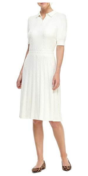 Gal Meets Glam Collection elliott cable knit polo sweater dress in starch