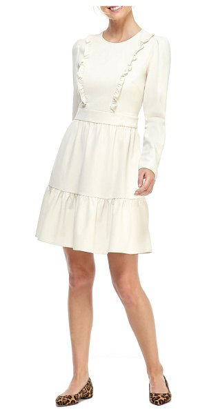 Gal Meets Glam Collection hayley ruffle detail long sleeve dress in cream