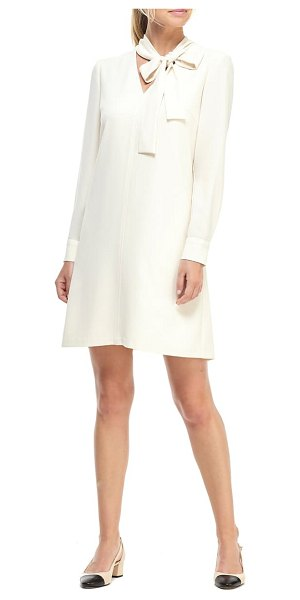 Gal Meets Glam Collection ines tie neck long sleeve shift dress in cream