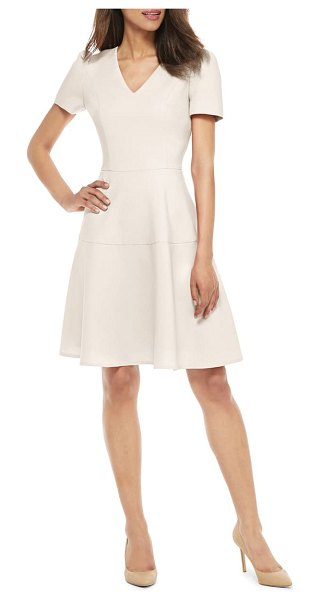 Gal Meets Glam Collection kate v-neck fit & flare dress in cream
