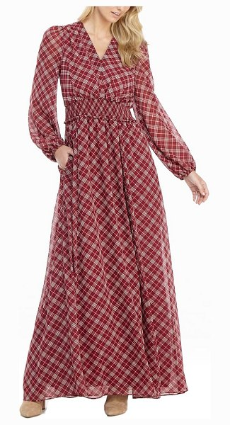 Gal Meets Glam Collection robyn plaid long sleeve chiffon maxi dress in red