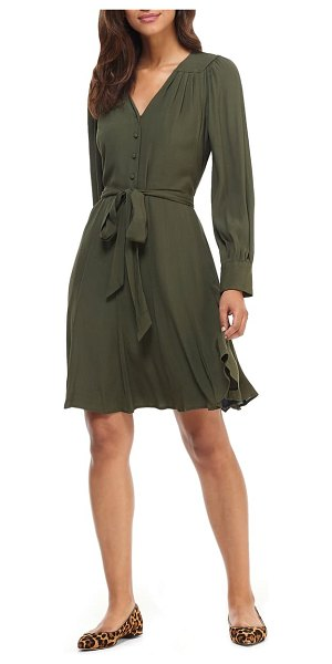 Gal Meets Glam Collection savannah long sleeve fit & flare shirtdress in woodland
