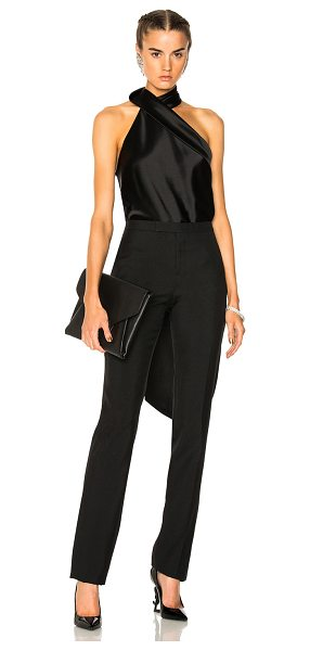 Galvan London Asymmetric Sash Neck Top in black - 81% triacetate 19% poly.  Made in UK.  Dry clean only. ...