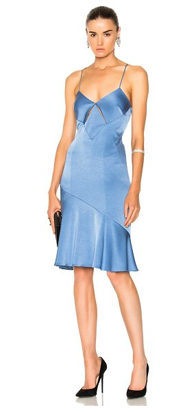Galvan London for FWRD Diamond Mini Cut Out Cocktail Dress in blue - Self: 82% triacetate 18% poly - Lining: 97% poly 3%...