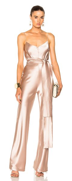 Galvan London for FWRD Slouchy Jumpsuit With Waist Tie in pink - Self: 81% triacetate 19% poly - Lining: 95% silk 5%...